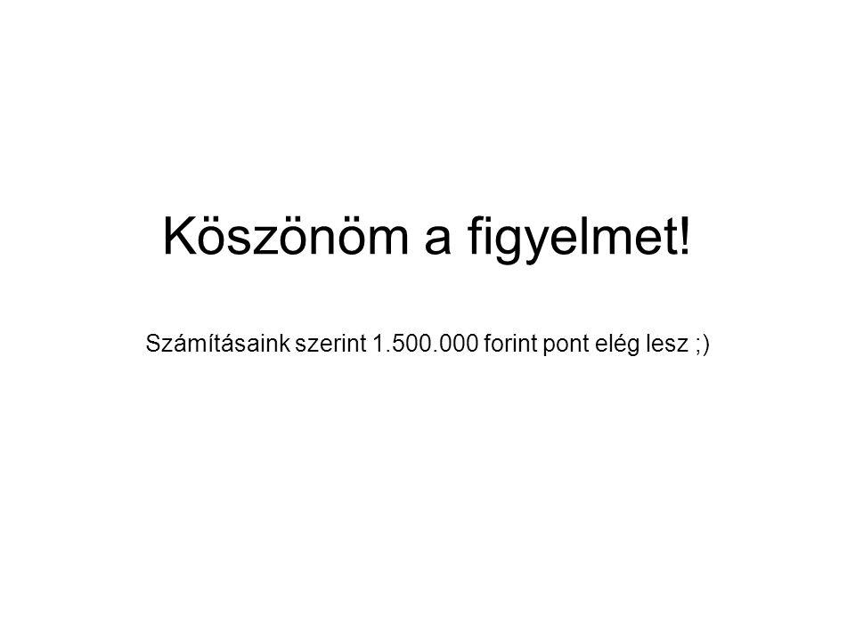 Köszönöm a figyelmet! Számításaink szerint 1.500.000 forint pont elég lesz ;)