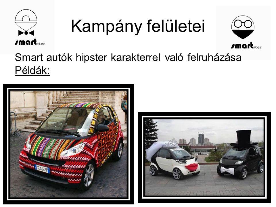 Kampány felületei Smart autók hipster karakterrel való felruházása Példák: