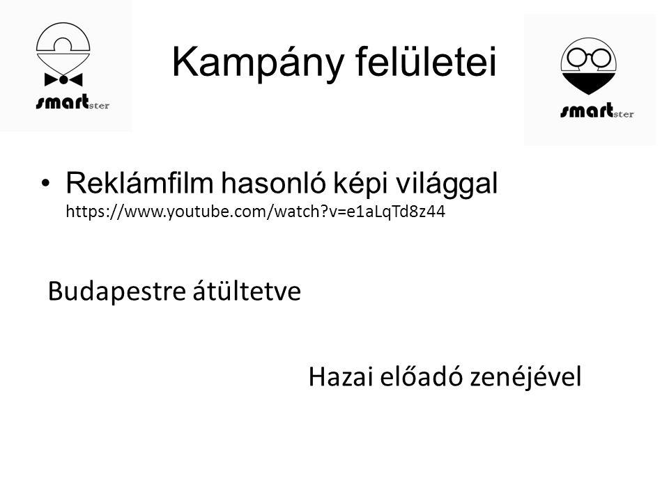 Kampány felületei Reklámfilm hasonló képi világgal https://www.youtube.com/watch?v=e1aLqTd8z44 Budapestre átültetve Hazai előadó zenéjével