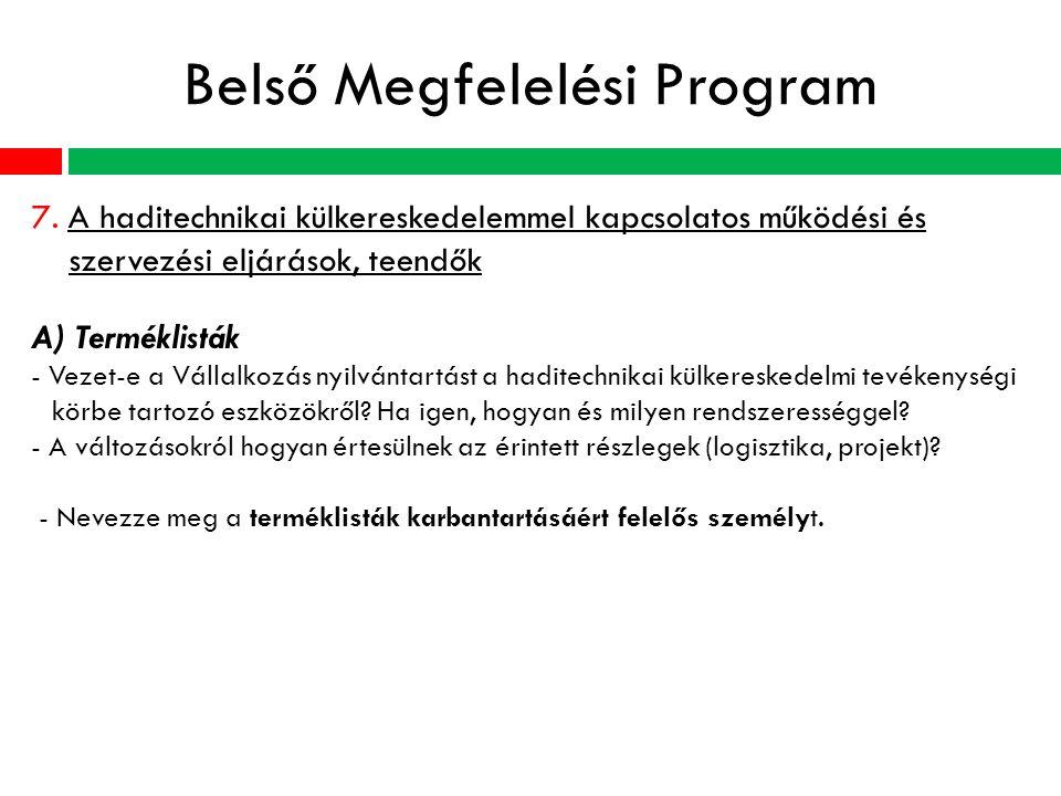 Belső Megfelelési Program 7.