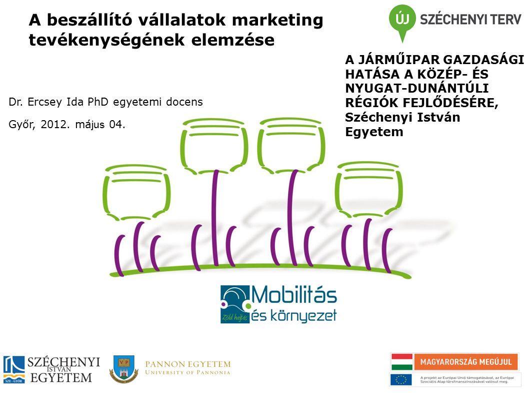A beszállító vállalatok marketing tevékenységének elemzése Marketing hozzájárulása a vállalati versenyképességhez (> 50 fő) Megrendelői kapcsolatok: kapcsolattípusok (stratégiai partner- kapcsolat, piaci cserekapcsolat + beszállítói kapcsolatok Értékteremtő folyamatok (marketing, innováció, termelés/szolgáltatás, logisztika, információmenedzsment, pénzügy) céljai, eszközei → eredmények, vállalati siker Kapcsolatmenedzsment funkció: K+F és marketing 1: Kolos, K., Sz.