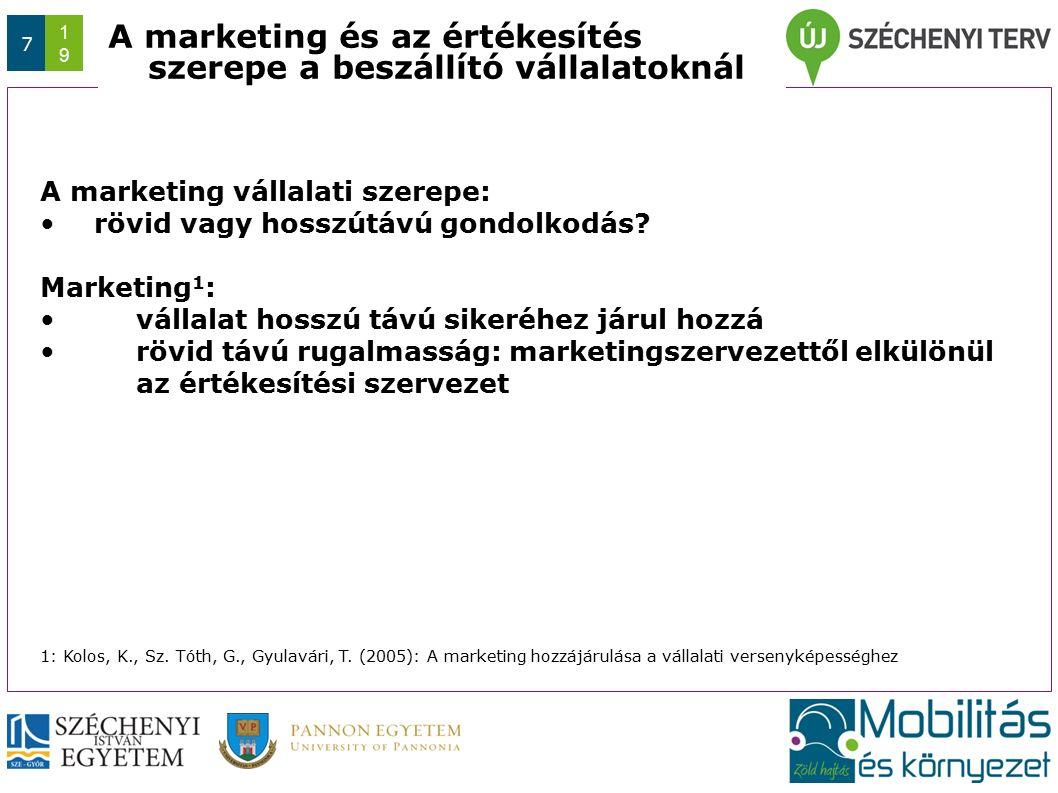 Az előadás/konferencia rövid címe (max. 1 sor) Dátum 7 1919 A marketing és az értékesítés szerepe a beszállító vállalatoknál A marketing vállalati sze