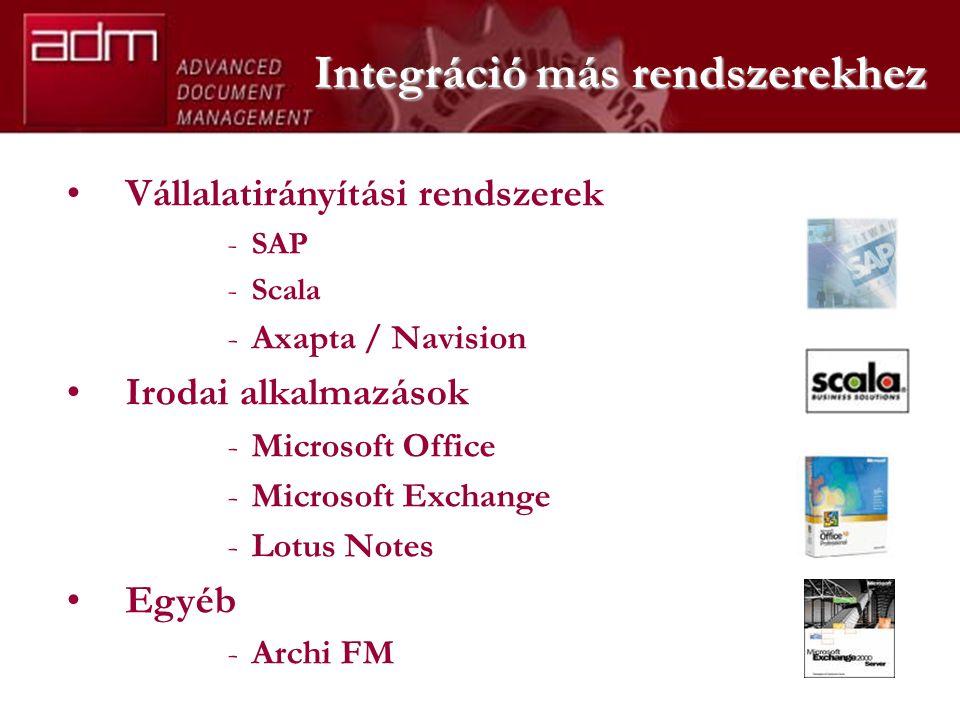 Vállalatirányítási rendszerek -SAP -Scala -Axapta / Navision Irodai alkalmazások -Microsoft Office -Microsoft Exchange -Lotus Notes Egyéb -Archi FM Integráció más rendszerekhez