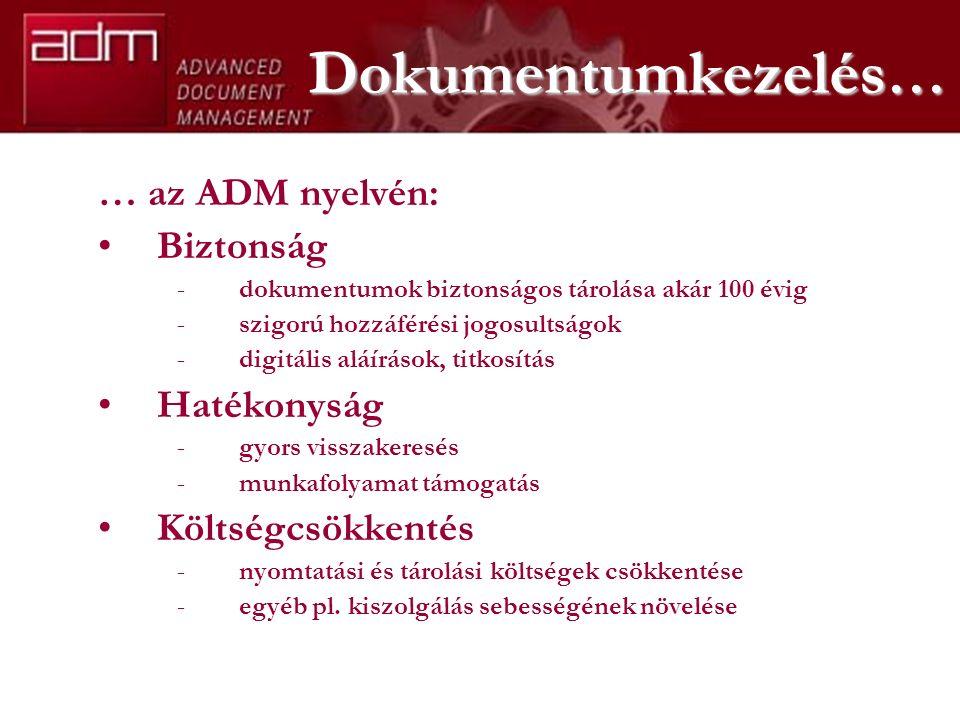 Dokumentumkezelés … … az ADM nyelvén: Biztonság -dokumentumok biztonságos tárolása akár 100 évig -szigorú hozzáférési jogosultságok -digitális aláírás