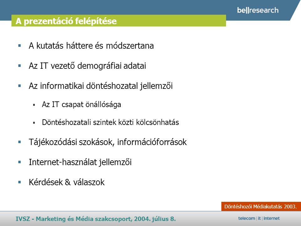 A prezentáció felépítése Döntéshozói Médiakutatás 2003.