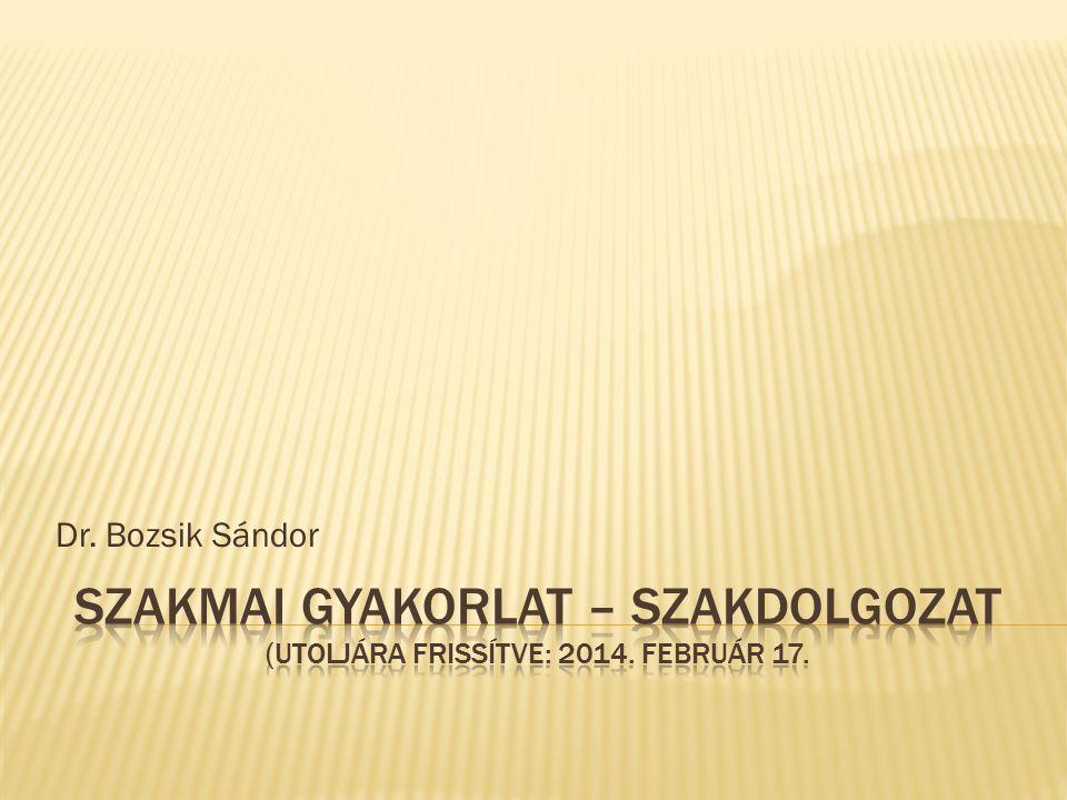 Dr. Bozsik Sándor