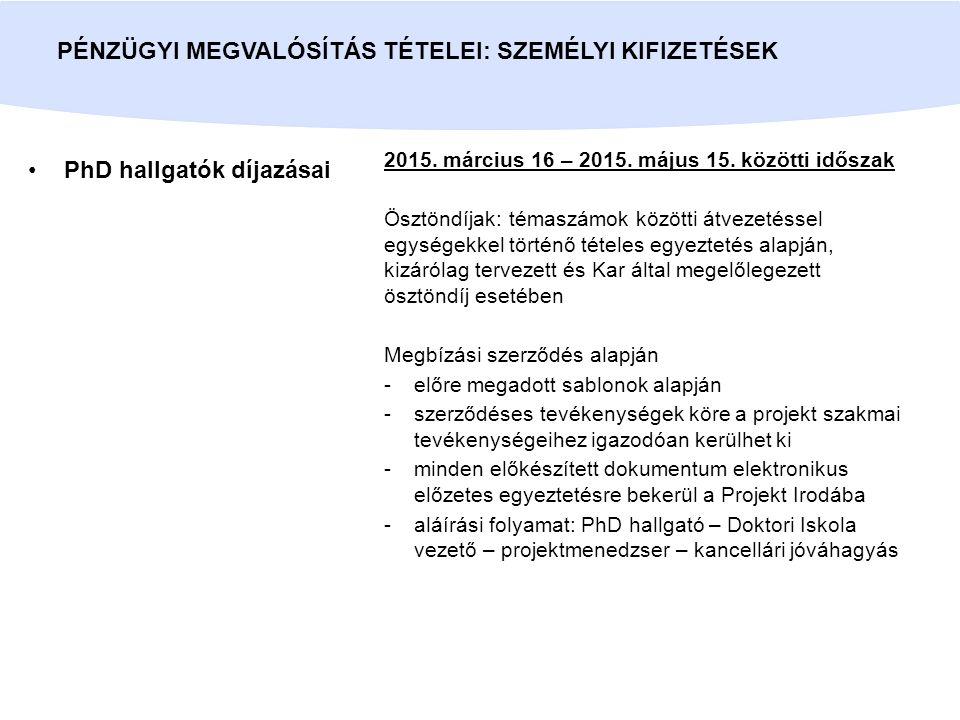 PhD hallgatók díjazásai PÉNZÜGYI MEGVALÓSÍTÁS TÉTELEI: SZEMÉLYI KIFIZETÉSEK 2015.