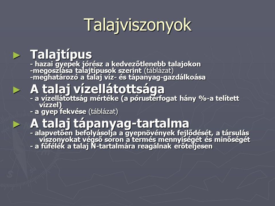 Talajviszonyok ► Talajtípus - hazai gyepek jórész a kedvezőtlenebb talajokon -megoszlása talajtípusok szerint (táblázat) -meghatározó a talaj víz- és