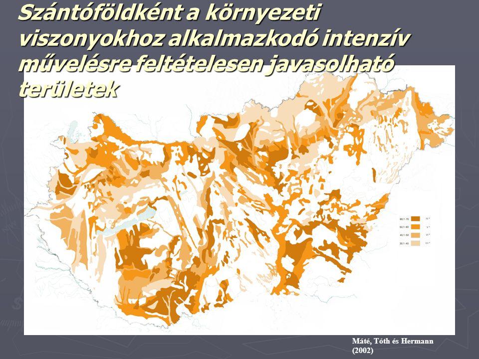 Szűcs és Máté (1973) alapján Máté, Tóth és Hermann (2002) Szántóföldként a környezeti viszonyokhoz alkalmazkodó intenzív művelésre feltételesen javaso