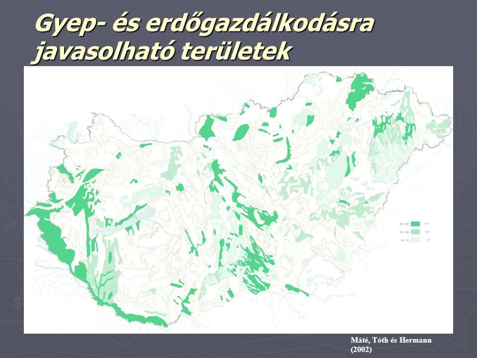 Gyep- és erdőgazdálkodásra javasolható területek Szűcs és Máté (1973) alapján Máté, Tóth és Hermann (2002)