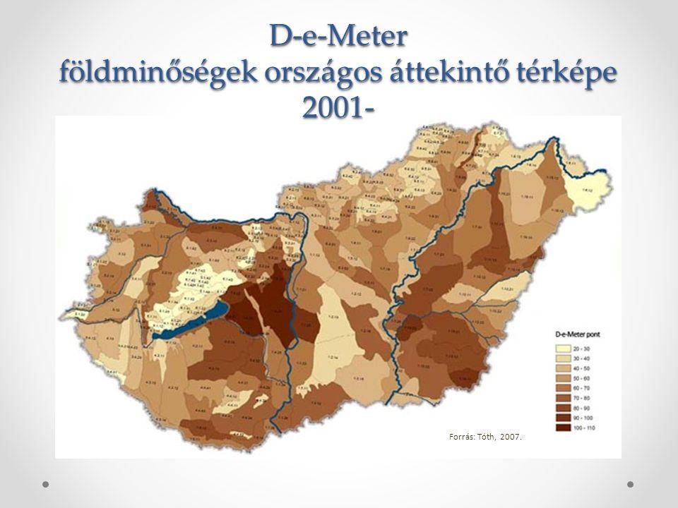 D-e-Meter földminőségek országos áttekintő térképe 2001-D-e-Meter 2001- Forrás: Tóth, 2007.