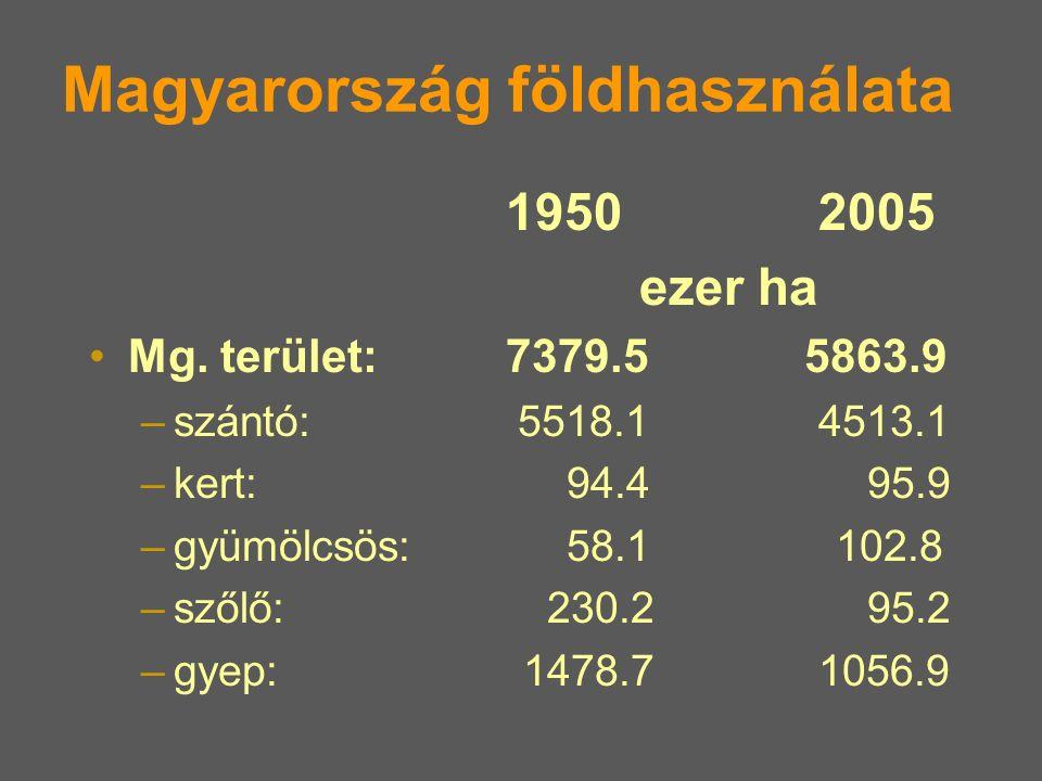 Magyarország földhasználata 19502005 ezer ha Mg. terület: 7379.5 5863.9 –szántó: 5518.14513.1 –kert: 94.4 95.9 –gyümölcsös: 58.1 102.8 –szőlő: 230.2 9
