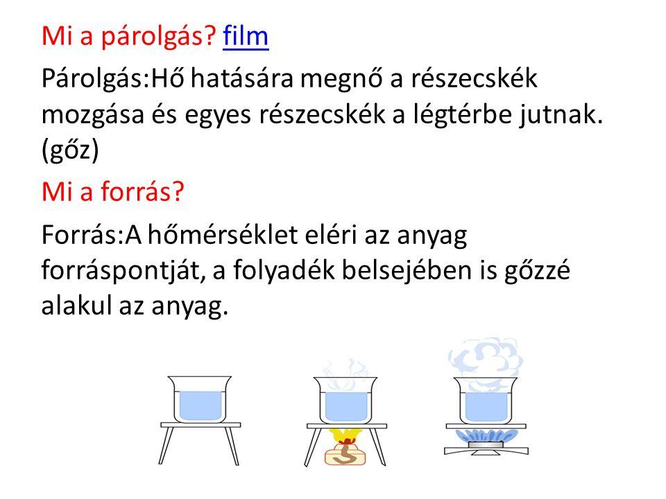 Mi a párolgás? filmfilm Párolgás:Hő hatására megnő a részecskék mozgása és egyes részecskék a légtérbe jutnak. (gőz) Mi a forrás? Forrás:A hőmérséklet