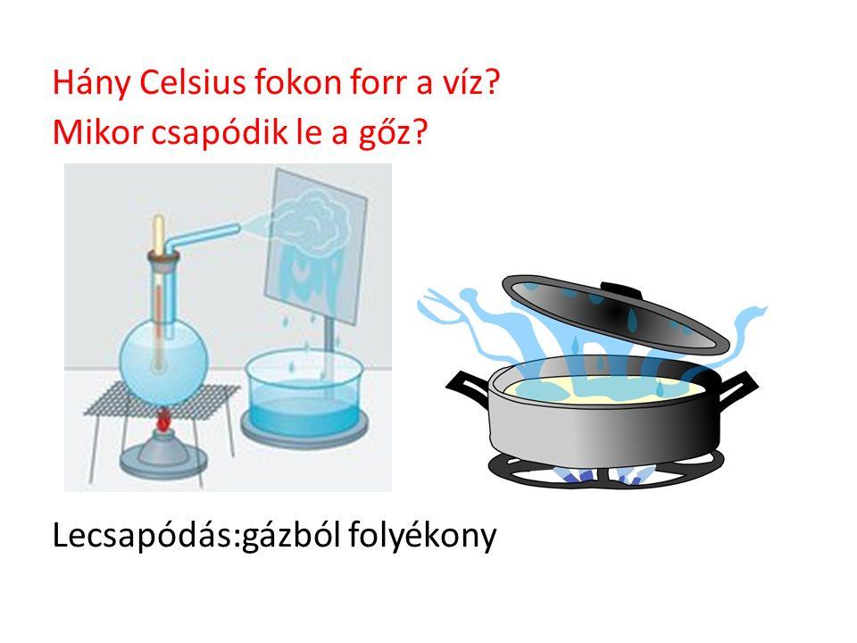 Hány Celsius fokon forr a víz? Mikor csapódik le a gőz? Lecsapódás:gázból folyékony