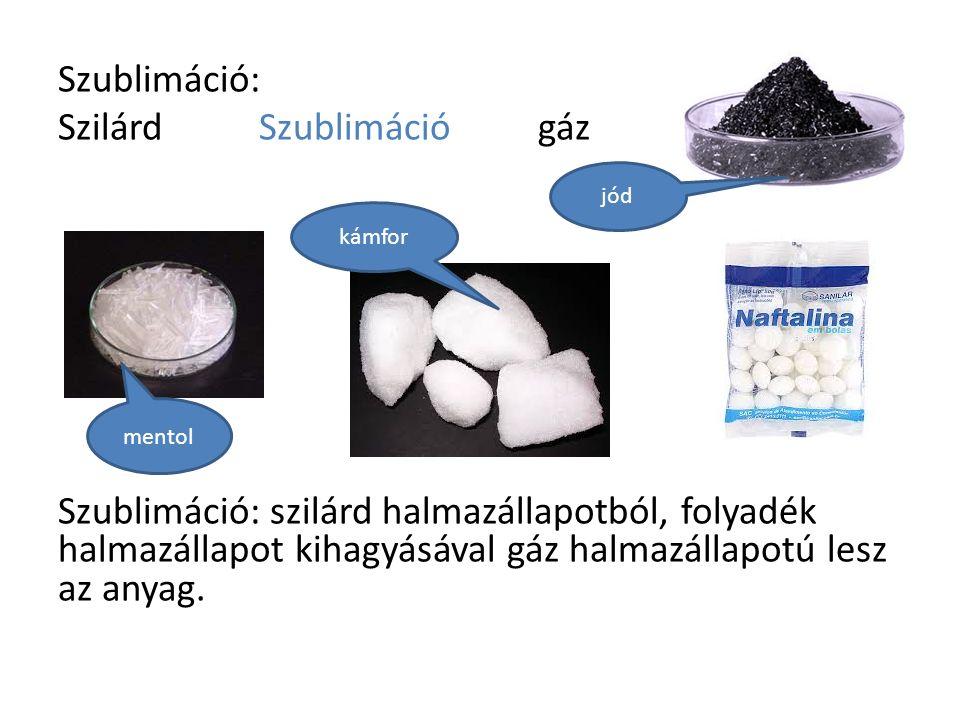 Szublimáció: Szilárd Szublimációgáz Szublimáció: szilárd halmazállapotból, folyadék halmazállapot kihagyásával gáz halmazállapotú lesz az anyag.
