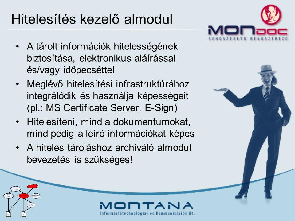 Hitelesítés kezelő almodul A tárolt információk hitelességének biztosítása, elektronikus aláírással és/vagy időpecséttel Meglévő hitelesítési infrastruktúrához integrálódik és használja képességeit (pl.: MS Certificate Server, E-Sign) Hitelesíteni, mind a dokumentumokat, mind pedig a leíró információkat képes A hiteles tároláshoz archiváló almodul bevezetés is szükséges!