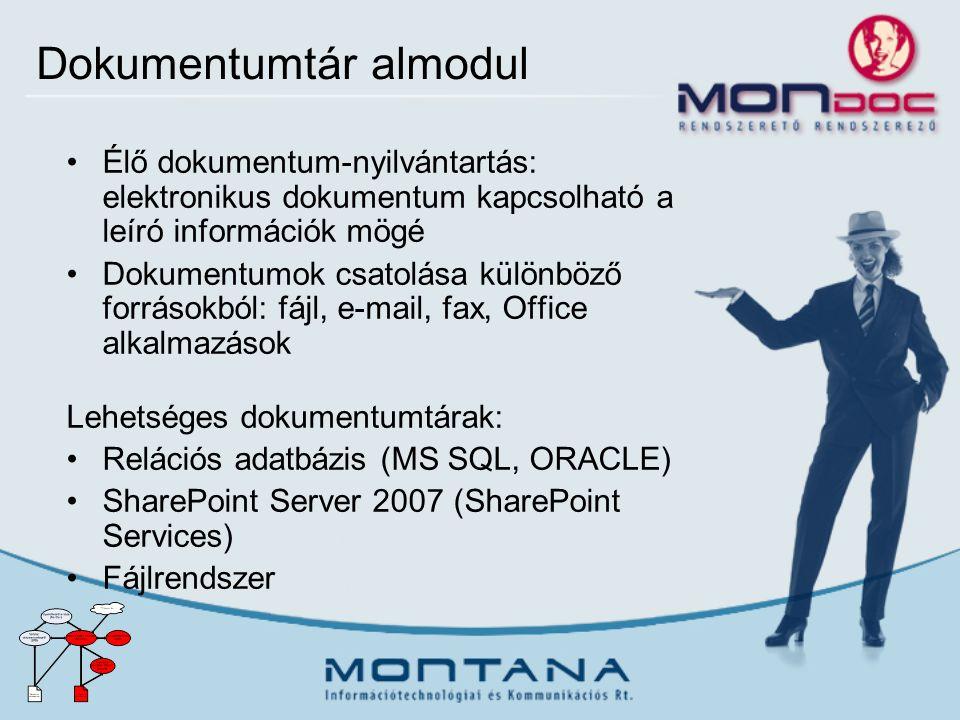 Dokumentumtár almodul Élő dokumentum-nyilvántartás: elektronikus dokumentum kapcsolható a leíró információk mögé Dokumentumok csatolása különböző forrásokból: fájl, e-mail, fax, Office alkalmazások Lehetséges dokumentumtárak: Relációs adatbázis (MS SQL, ORACLE) SharePoint Server 2007 (SharePoint Services) Fájlrendszer