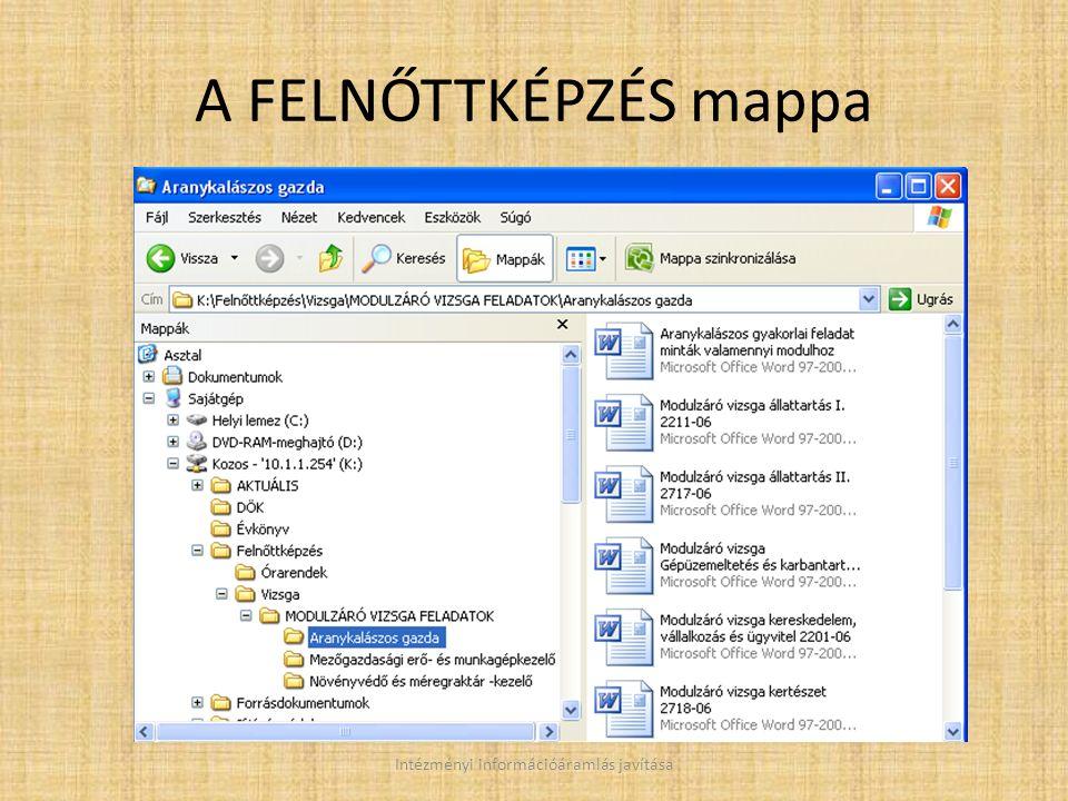 A FELNŐTTKÉPZÉS mappa Intézményi információáramlás javítása