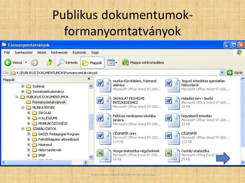 Publikus dokumentumok- formanyomtatványok Intézményi információáramlás javítása