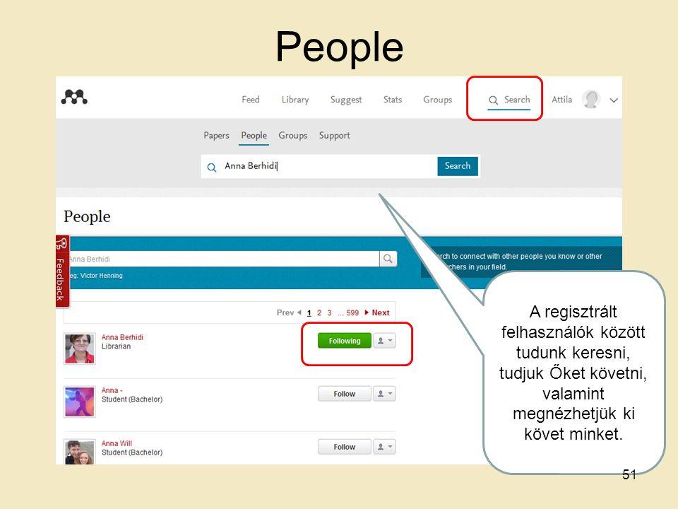 People A regisztrált felhasználók között tudunk keresni, tudjuk Őket követni, valamint megnézhetjük ki követ minket. 51