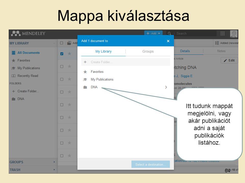Mappa kiválasztása Itt tudunk mappát megjelölni, vagy akár publikációt adni a saját publikációk listához. 64