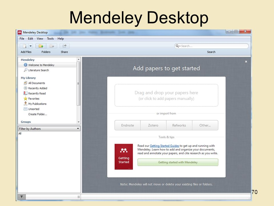 Mendeley Desktop 70