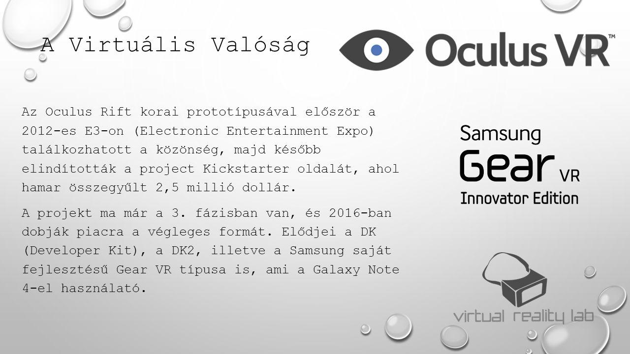 A Virtuális Valóság Az Oculus Rift korai prototípusával először a 2012-es E3-on (Electronic Entertainment Expo) találkozhatott a közönség, majd később