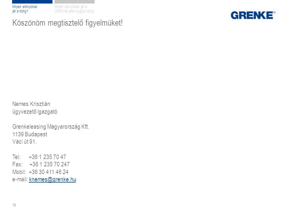 Köszönöm megtisztelő figyelmüket! Nemes Krisztián ügyvezető igazgató Grenkeleasing Magyarország Kft. 1139 Budapest Váci út 91. Tel: +36 1 235 70 47 Fa