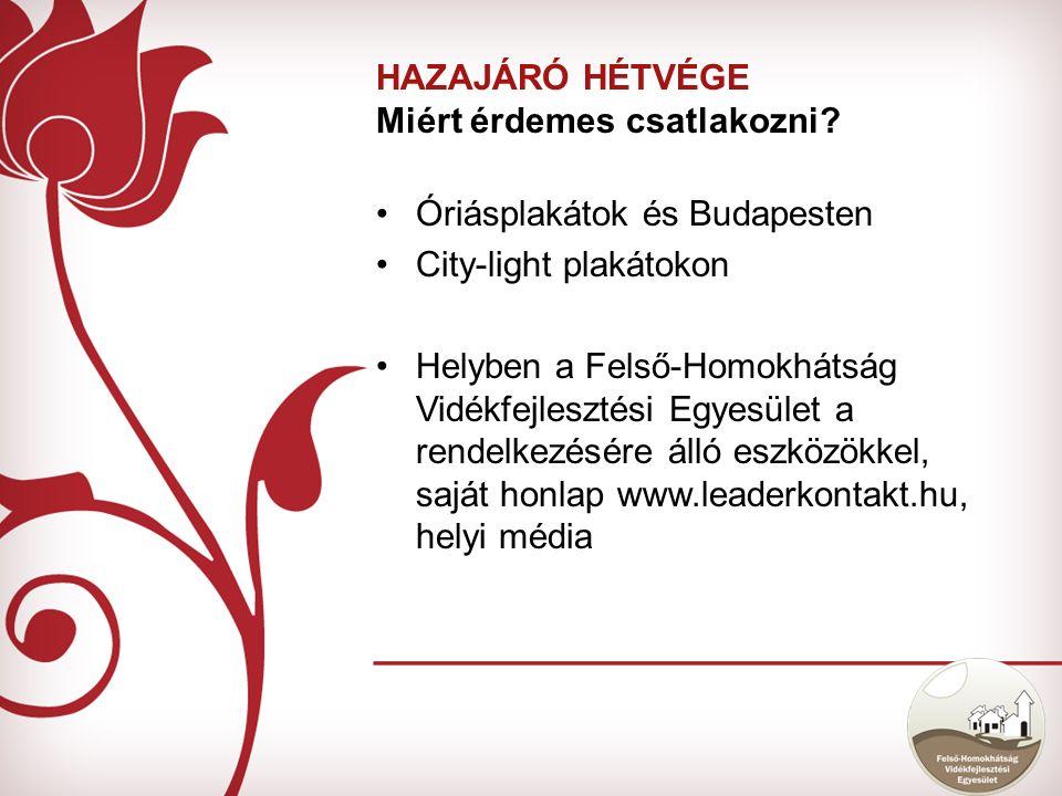 Óriásplakátok és Budapesten City-light plakátokon Helyben a Felső-Homokhátság Vidékfejlesztési Egyesület a rendelkezésére álló eszközökkel, saját honlap www.leaderkontakt.hu, helyi média HAZAJÁRÓ HÉTVÉGE Miért érdemes csatlakozni?