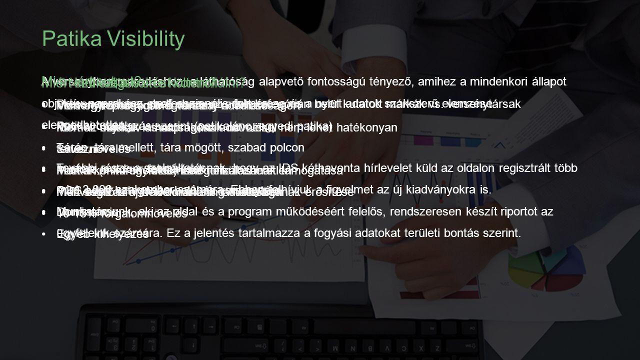 Patika Visibility A versenyben maradáshoz, a láthatóság alapvető fontosságú tényező, amihez a mindenkori állapot objektív, naprakész, professzionális