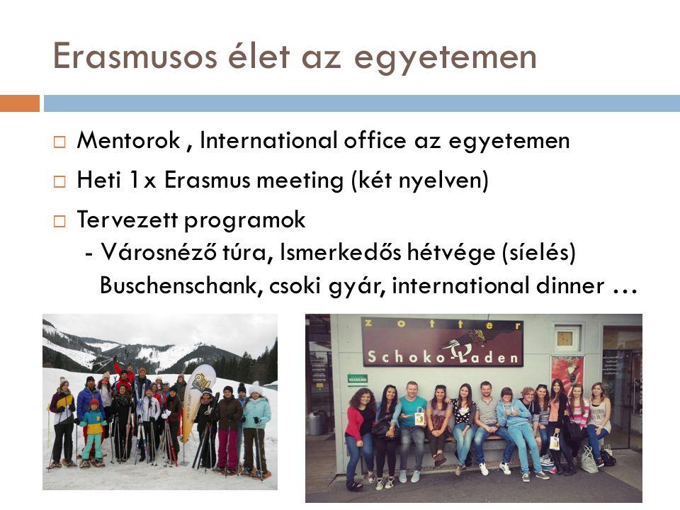 Erasmusos élet az egyetemen  Mentorok, International office az egyetemen  Heti 1x Erasmus meeting (két nyelven)  Tervezett programok - Városnéző túra, Ismerkedős hétvége (síelés) Buschenschank, csoki gyár, international dinner …