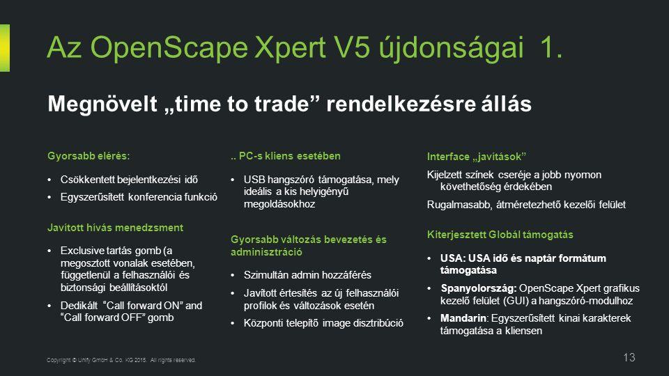 Az OpenScape Xpert V5 újdonságai 1. 13 Copyright © Unify GmbH & Co.