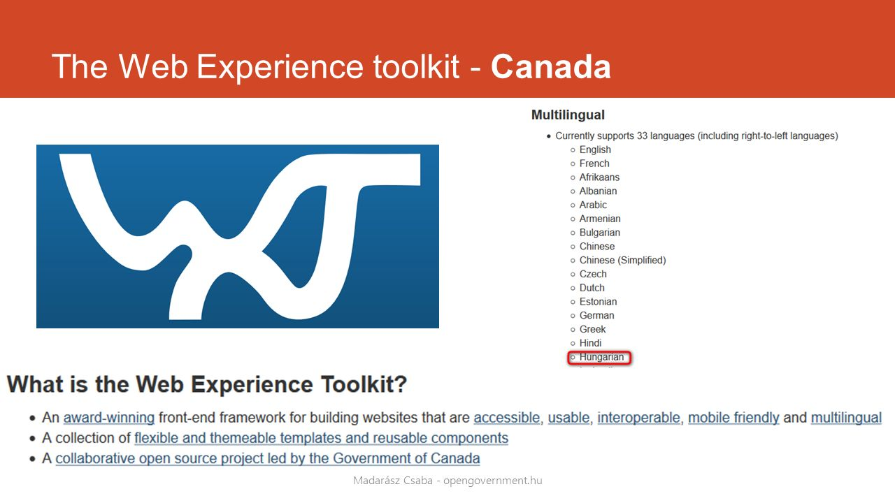 The Web Experience toolkit - Canada Madarász Csaba - opengovernment.hu