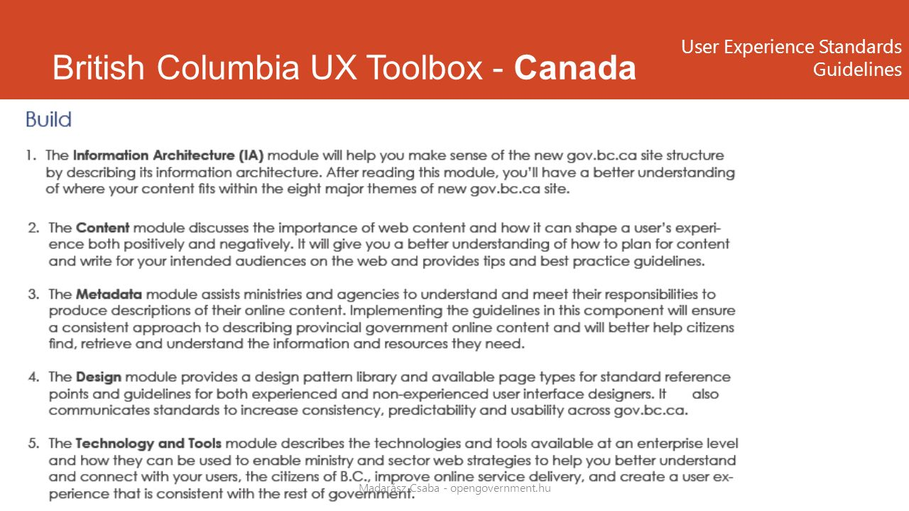 British Columbia UX Toolbox - Canada Madarász Csaba - opengovernment.hu User Experience Standards Guidelines