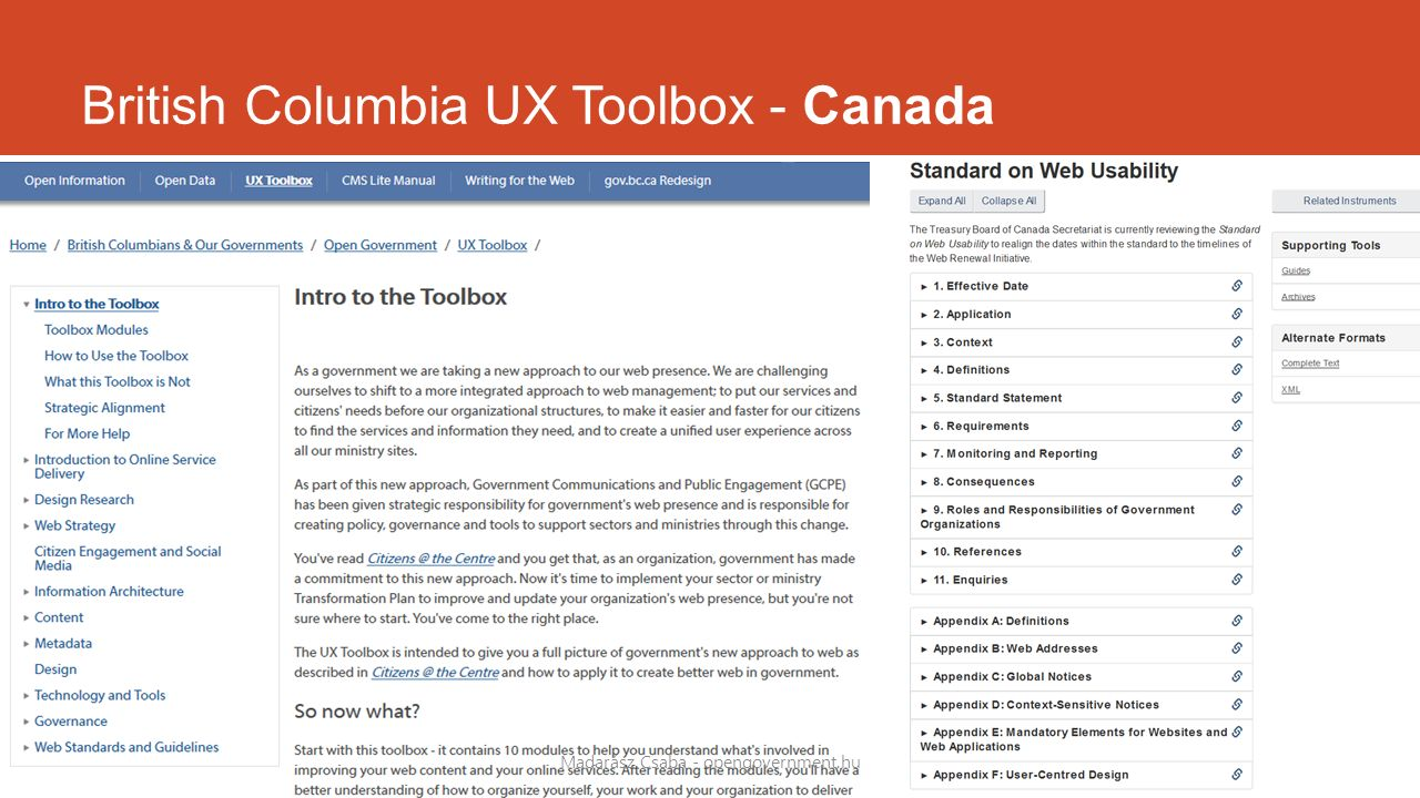 British Columbia UX Toolbox - Canada Madarász Csaba - opengovernment.hu