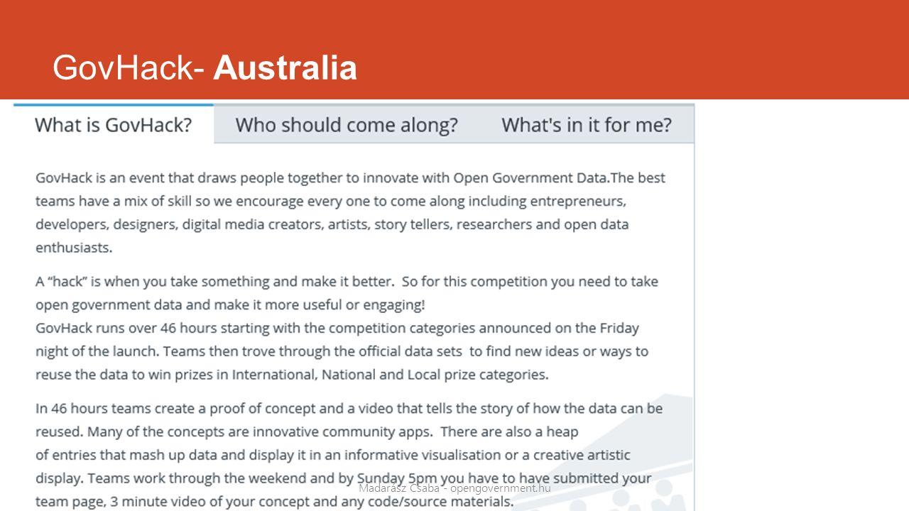 GovHack- Australia Madarász Csaba - opengovernment.hu