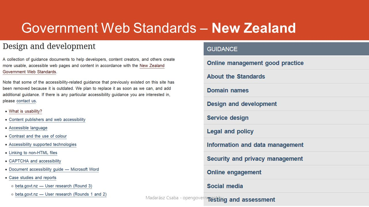 Government Web Standards – New Zealand Madarász Csaba - opengovernment.hu
