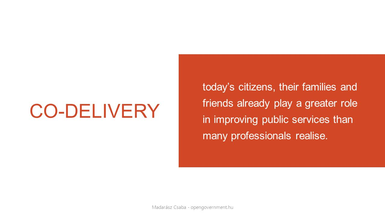CO-DELIVERY today's citizens, their families and friends already play a greater role in improving public services than many professionals realise. Mad