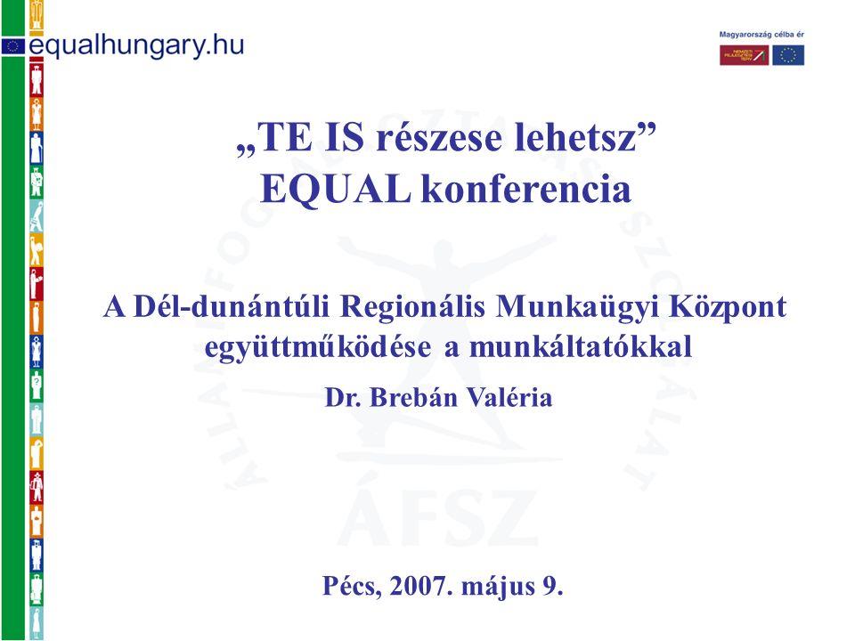 """""""TE IS részese lehetsz"""" EQUAL konferencia Pécs, 2007. május 9. A Dél-dunántúli Regionális Munkaügyi Központ együttműködése a munkáltatókkal Dr. Brebán"""