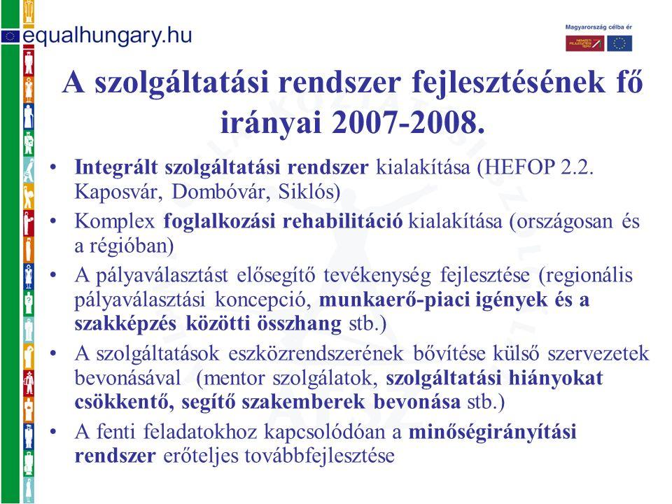 Integrált szolgáltatási rendszer kialakítása (HEFOP 2.2. Kaposvár, Dombóvár, Siklós) Komplex foglalkozási rehabilitáció kialakítása (országosan és a r