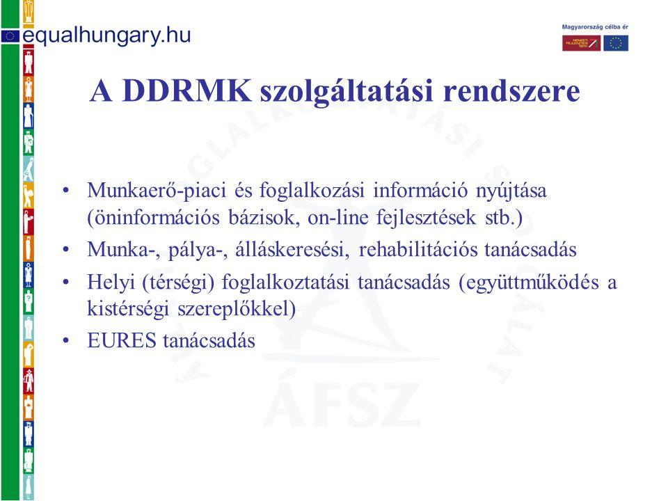 Munkaerő-piaci és foglalkozási információ nyújtása (öninformációs bázisok, on-line fejlesztések stb.) Munka-, pálya-, álláskeresési, rehabilitációs tanácsadás Helyi (térségi) foglalkoztatási tanácsadás (együttműködés a kistérségi szereplőkkel) EURES tanácsadás A DDRMK szolgáltatási rendszere