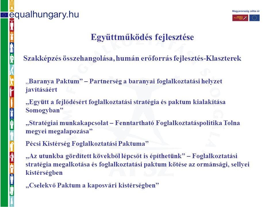 """Együttműködés fejlesztése Szakképzés összehangolása, humán erőforrás fejlesztés-Klaszterek """"Baranya Paktum – Partnerség a baranyai foglalkoztatási helyzet javításáért """"Együtt a fejlődésért foglalkoztatási stratégia és paktum kialakítása Somogyban """"Stratégiai munkakapcsolat – Fenntartható Foglalkoztatáspolitika Tolna megyei megalapozása Pécsi Kistérség Foglalkoztatási Paktuma """"Az utunkba gördített kövekből lépcsőt is építhetünk – Foglalkoztatási stratégia megalkotása és foglalkoztatási paktum kötése az ormánsági, sellyei kistérségben """"Cselekvő Paktum a kaposvári kistérségben"""