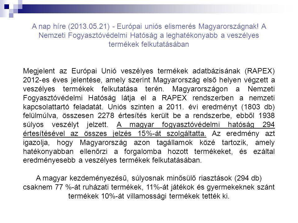 A nap híre (2013.05.21) - Európai uniós elismerés Magyarországnak! A Nemzeti Fogyasztóvédelmi Hatóság a leghatékonyabb a veszélyes termékek felkutatás