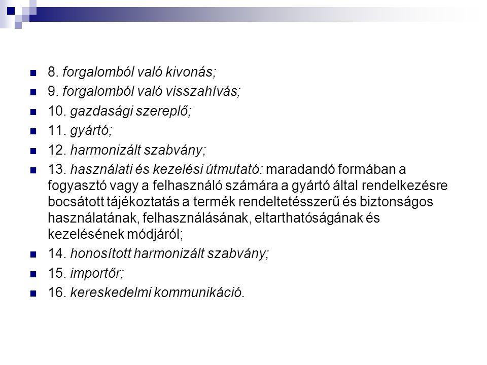 8. forgalomból való kivonás; 9. forgalomból való visszahívás; 10. gazdasági szereplő; 11. gyártó; 12. harmonizált szabvány; 13. használati és kezelési
