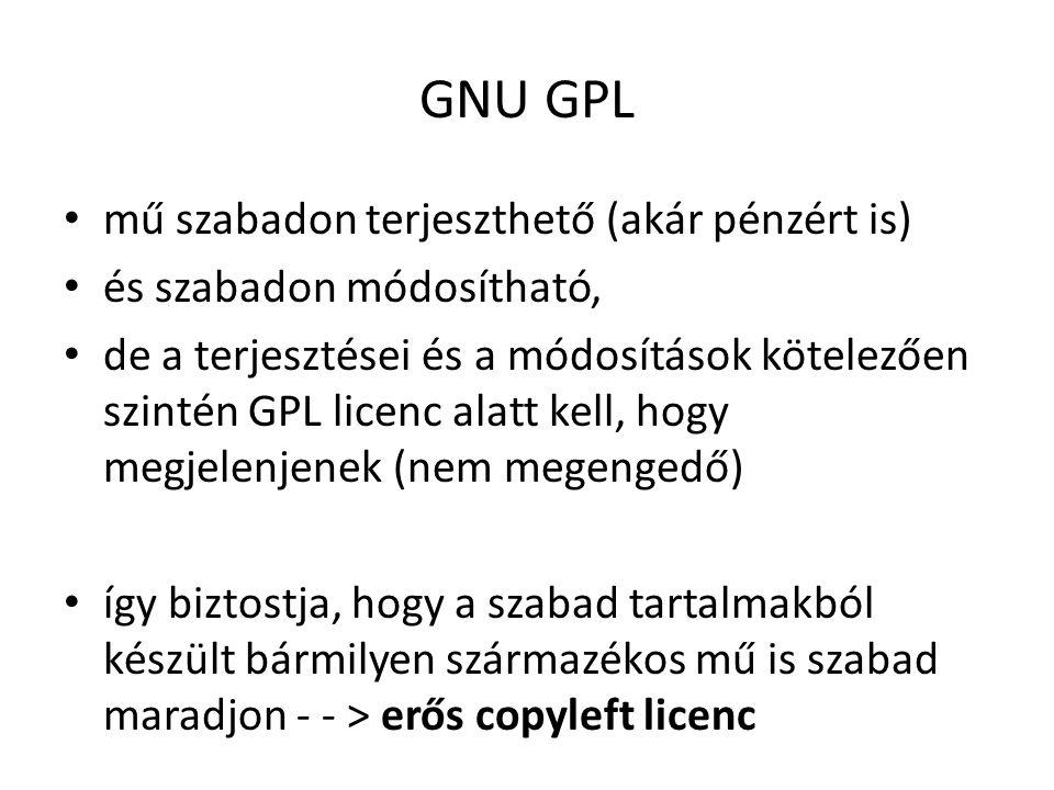 GNU GPL mű szabadon terjeszthető (akár pénzért is) és szabadon módosítható, de a terjesztései és a módosítások kötelezően szintén GPL licenc alatt kell, hogy megjelenjenek (nem megengedő) így biztostja, hogy a szabad tartalmakból készült bármilyen származékos mű is szabad maradjon - - > erős copyleft licenc