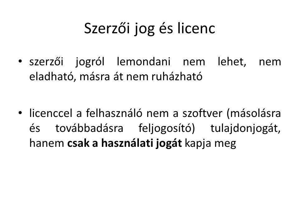 Szerzői jog és licenc szerzői jogról lemondani nem lehet, nem eladható, másra át nem ruházható licenccel a felhasználó nem a szoftver (másolásra és továbbadásra feljogosító) tulajdonjogát, hanem csak a használati jogát kapja meg