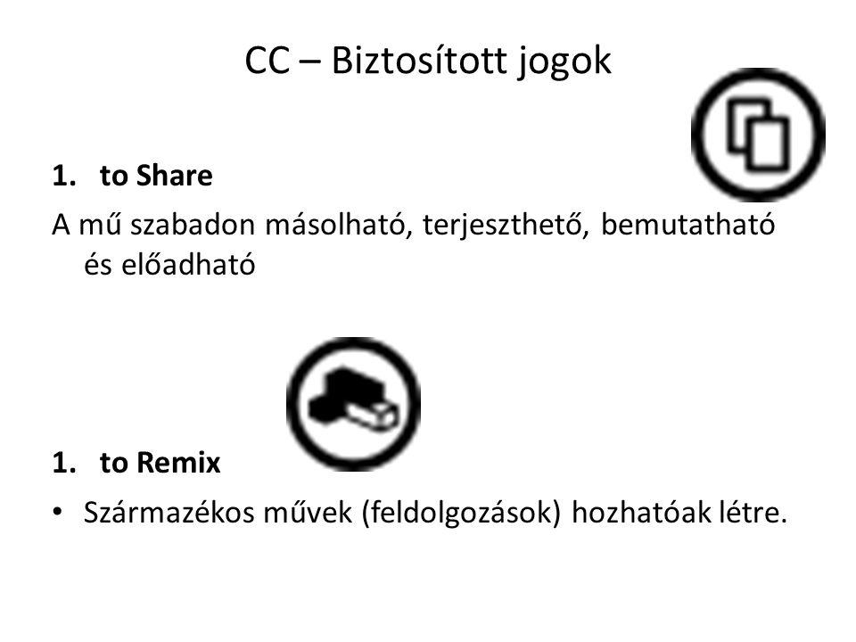 CC – Biztosított jogok 1.to Share A mű szabadon másolható, terjeszthető, bemutatható és előadható 1.to Remix Származékos művek (feldolgozások) hozhatóak létre.