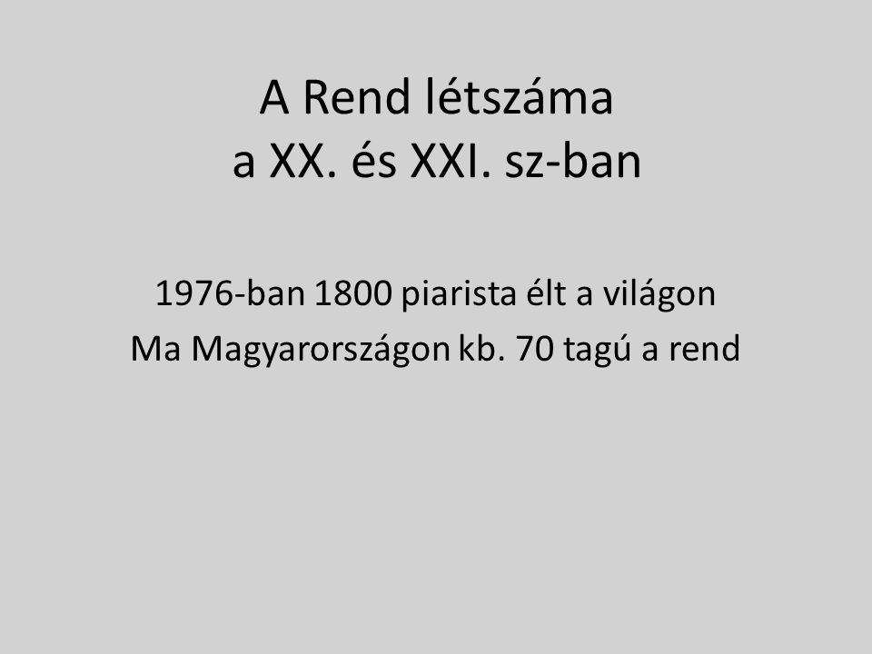 A Rend létszáma a XX. és XXI. sz-ban 1976-ban 1800 piarista élt a világon Ma Magyarországon kb.