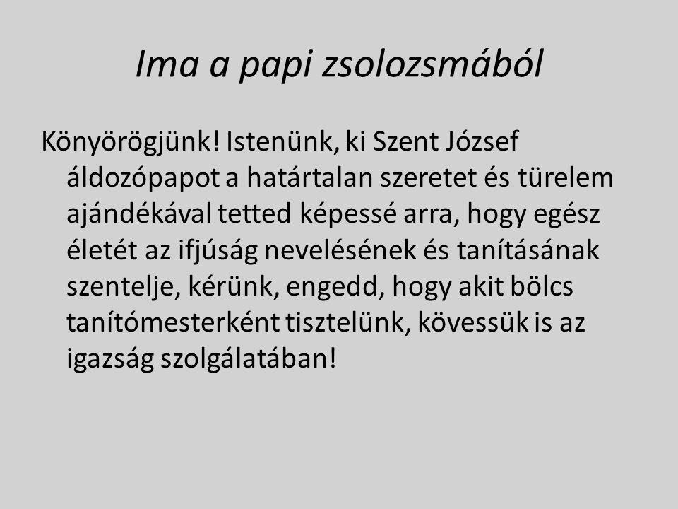 Ima a papi zsolozsmából Könyörögjünk.
