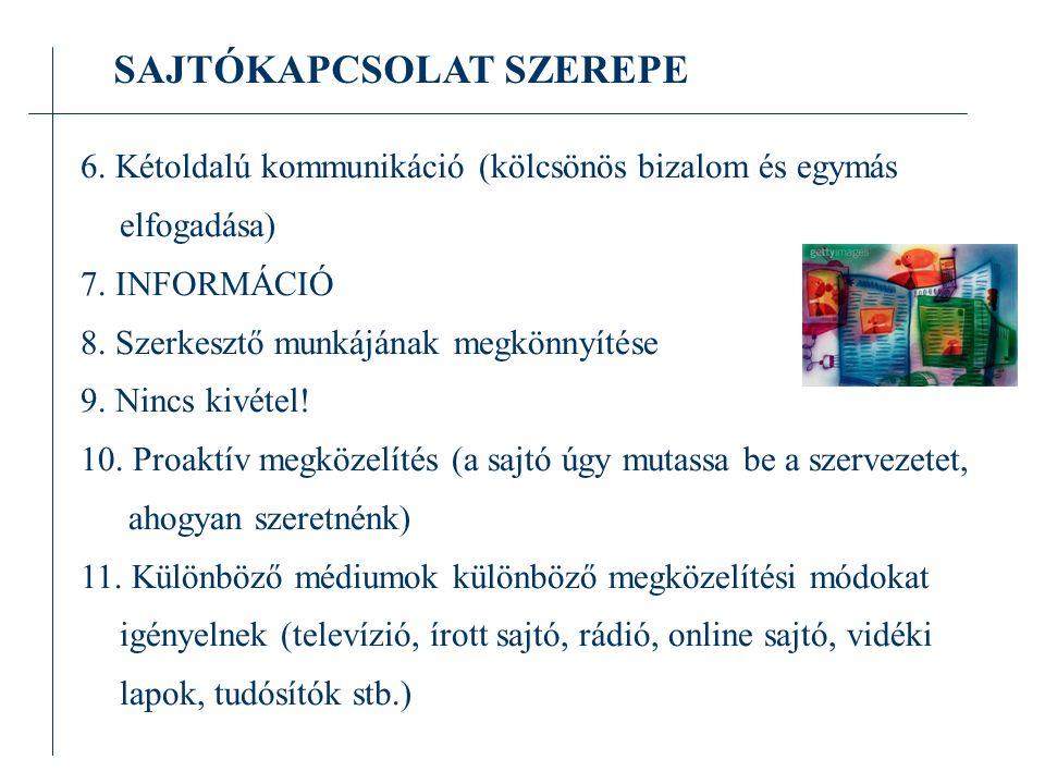 SAJTÓKAPCSOLAT SZEREPE 6.Kétoldalú kommunikáció (kölcsönös bizalom és egymás elfogadása) 7.